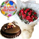 send birthday flowers cake with balloon in hanoi city