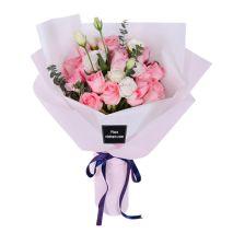 two dozen diana pink roses bouquet send to vietnam