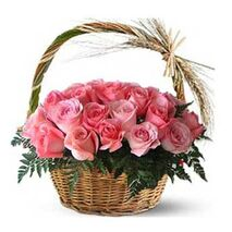 two dozen pink roses with leaves send to vietnam