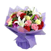 23 mixed color carnations with 3 lilies to vietnam