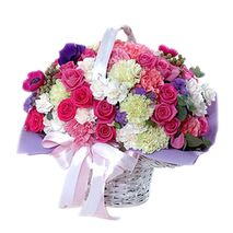 24 mixed color carnations with dozen pink roses delivery to vietnam