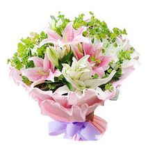 5 white lilies 4 pink lilies with green stuff send to vietnam