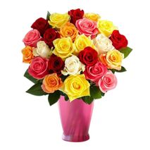 two dozen mixed color roses in vase to vietnam