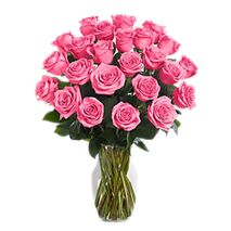 two dozen pink roses in glass vase to vietnam