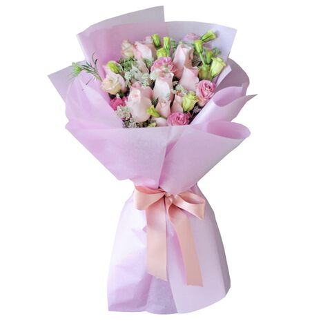 send 12 pink roses in bouquet to vietnam