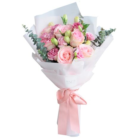 12 pink roses hand bouquet to vietnam