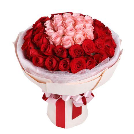 one dozen pink two dozen red roses bouquet send to vietnam