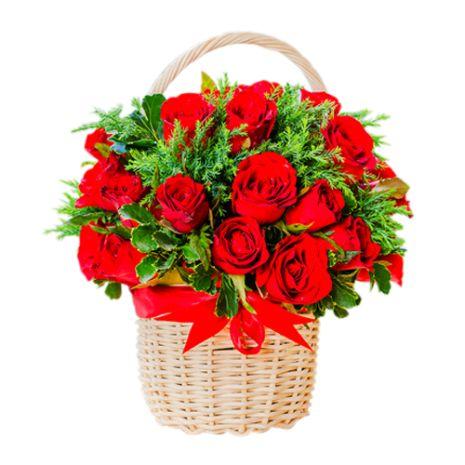 one dozen red roses basket to vietnam