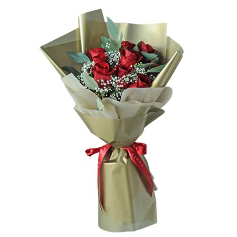 one dozen stems premium red rose bouquet to vietnam