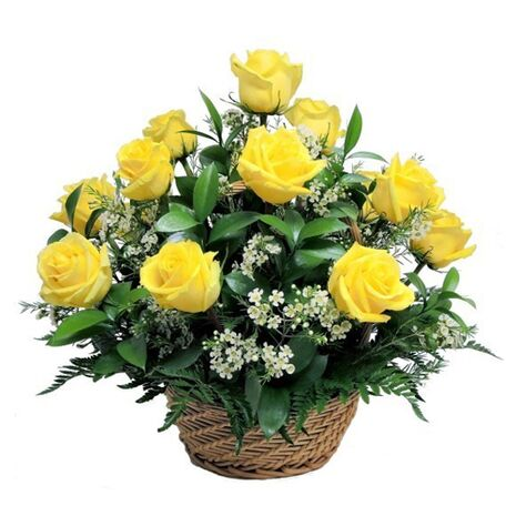 one dozen yellow roses basket to vietnam