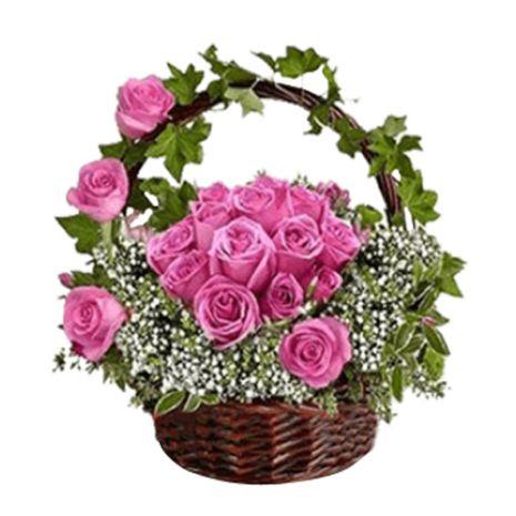 send pink rose basket to vietnam