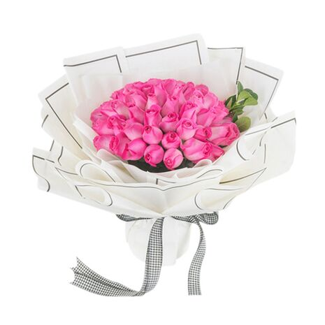 three doze marvelous pink roses in bouquet to vietnam