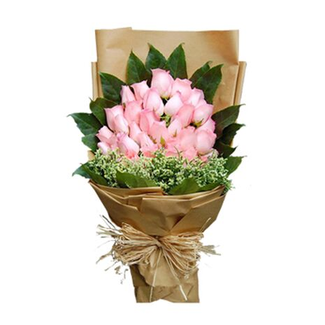three dozen pink roses bouquet to vietnam