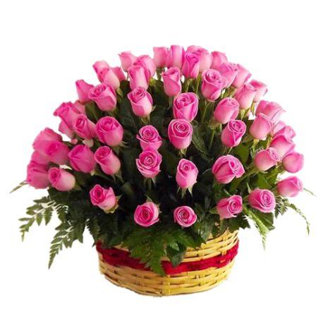 three dozen pink roses with fuphorbia marginata to vietnam