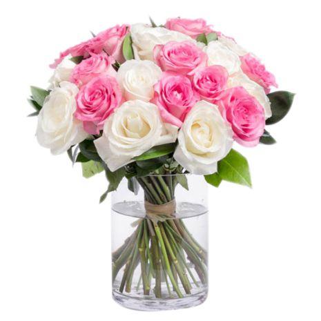 two dozen mixed roses in vase to vietnam