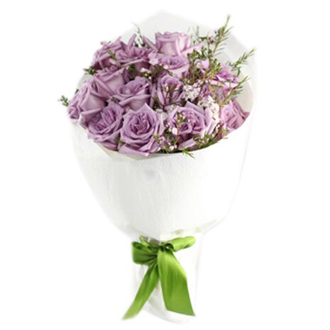 two dozen purple roses with flowers fillers to vietnam