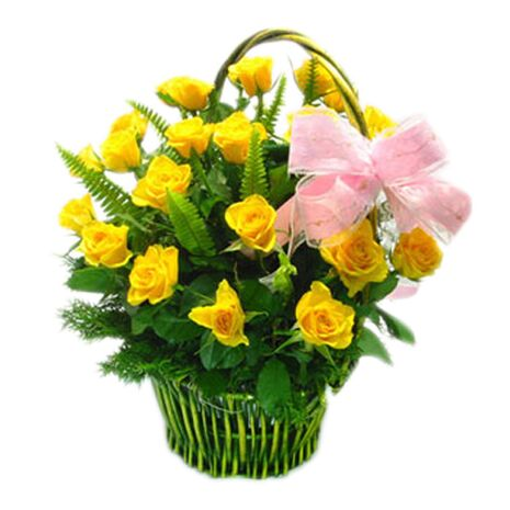 two dozen yellow roses with green leaf send to vietnam