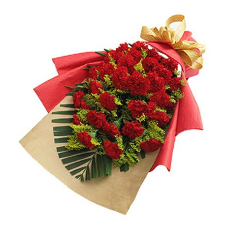 21 red carnations flower bouquet to vietnam