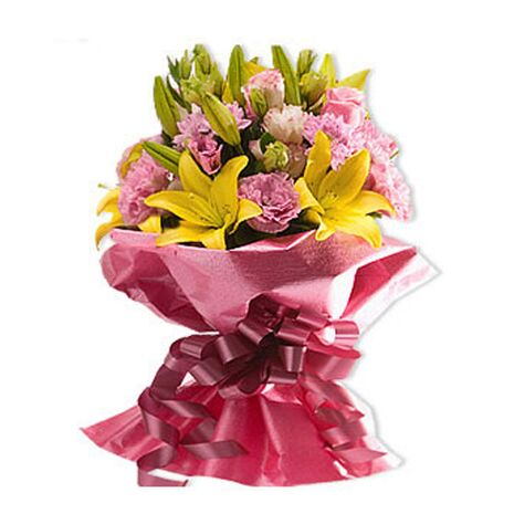 6 yellow lilies with 16 pink carnations send to vietnam
