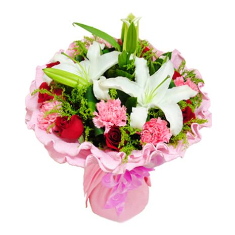 9 red roses,9 pink carnations with white lilies to vietnam
