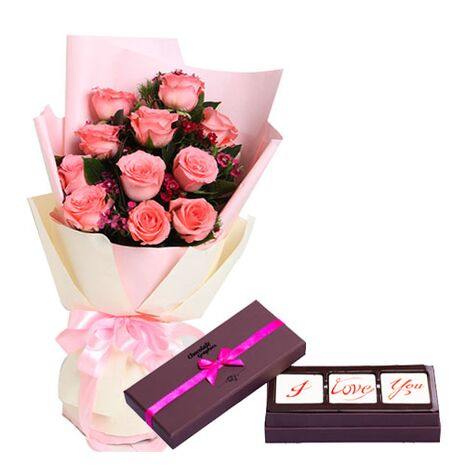 send 12 rose bouquet and i love you chocolate to vietnam