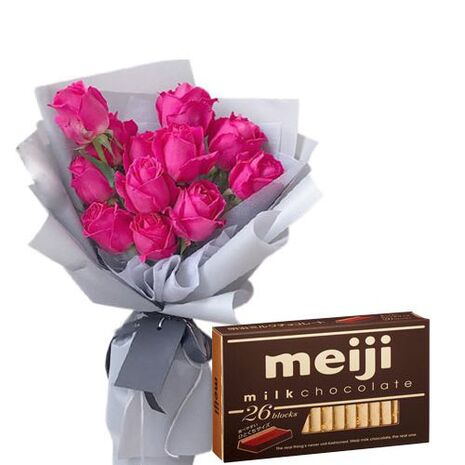 send 12 rose bouquet with meiji chocolate to vietnam