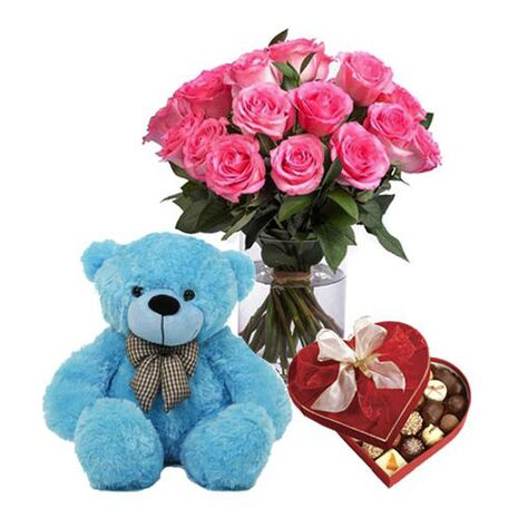 send roses vase chocolate and bear to vietnam