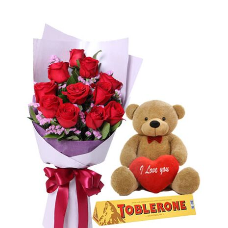 send 12 roses bouquet bear and toblerone to vietnam