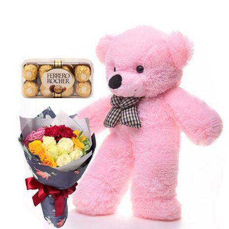 send rocher chocolate bear and rose bouquet to vietnam