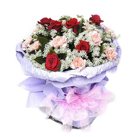 one dozen champagne carnations with red roses to vietnam