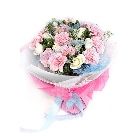 one dozen pink carnations with 9 white roses to vietnam