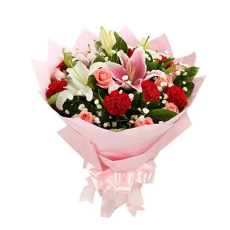 one dozen pink carnations with roses and lilies send to vietnam