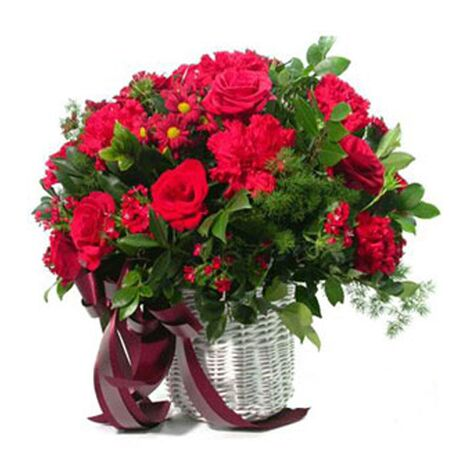 one dozen red roses and red carnations to vietnam