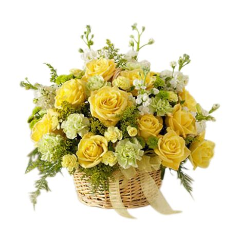 one dozen yellow roses with yellow carnations with green leaves to vietnam