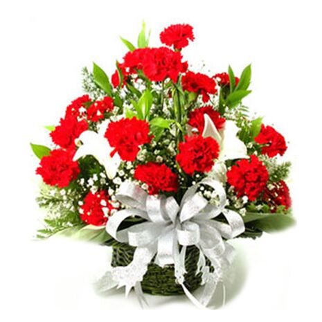 premium carnations and white long lilies send to vietnam