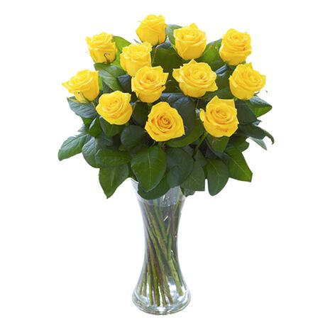 dozen yellow roses in vase to vietnam