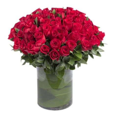 hundred red roses in glass vase to vietnam