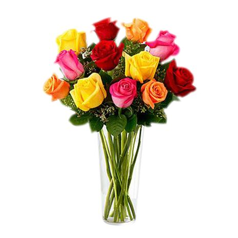 one dozen mixed color roses in vase to vietnam