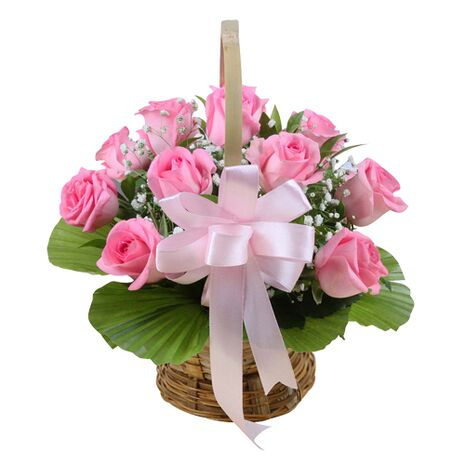 one dozen pink roses with green leaves to vietnam