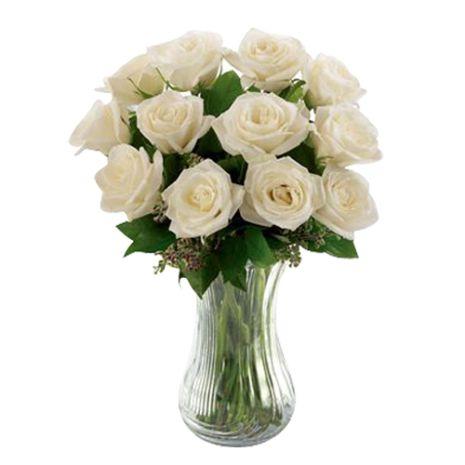 one dozen white roses in glass vase to vietnam
