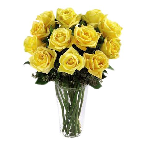 one dozen yellow roses in class glass vase to vietnam