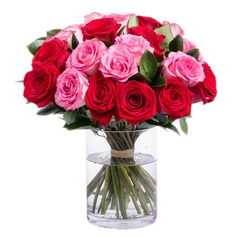 red and pink roses in glass vase to vietnam