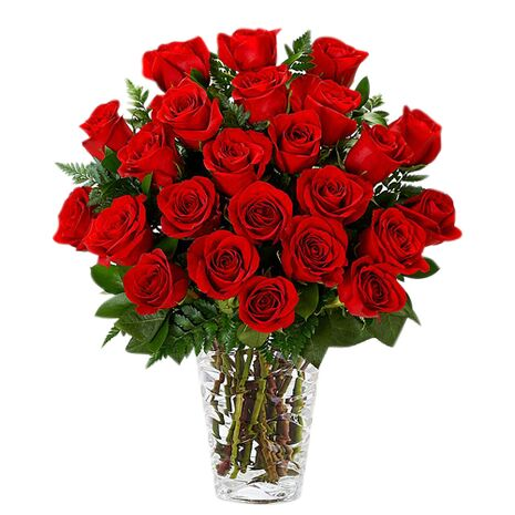 two dozen red roses in glass vase to vietnam