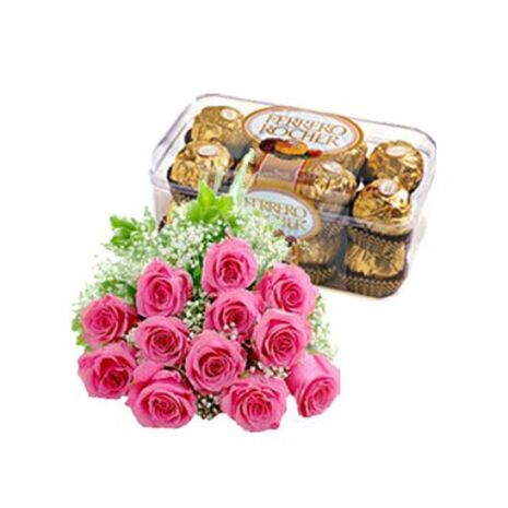 send 12 pink roses with ferrero rocher chocolate to vietnam