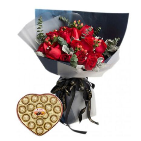 send 12 roses bouquet with gillia chocolate to vietnam