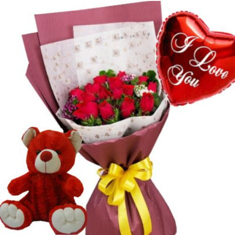 send 12 red roses bouquet,red bear with i love u balloon to vietnam