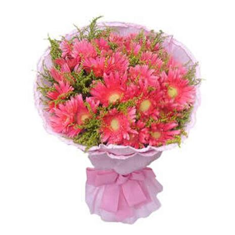 one dozen pink gerbera's in bouquet to vietnam